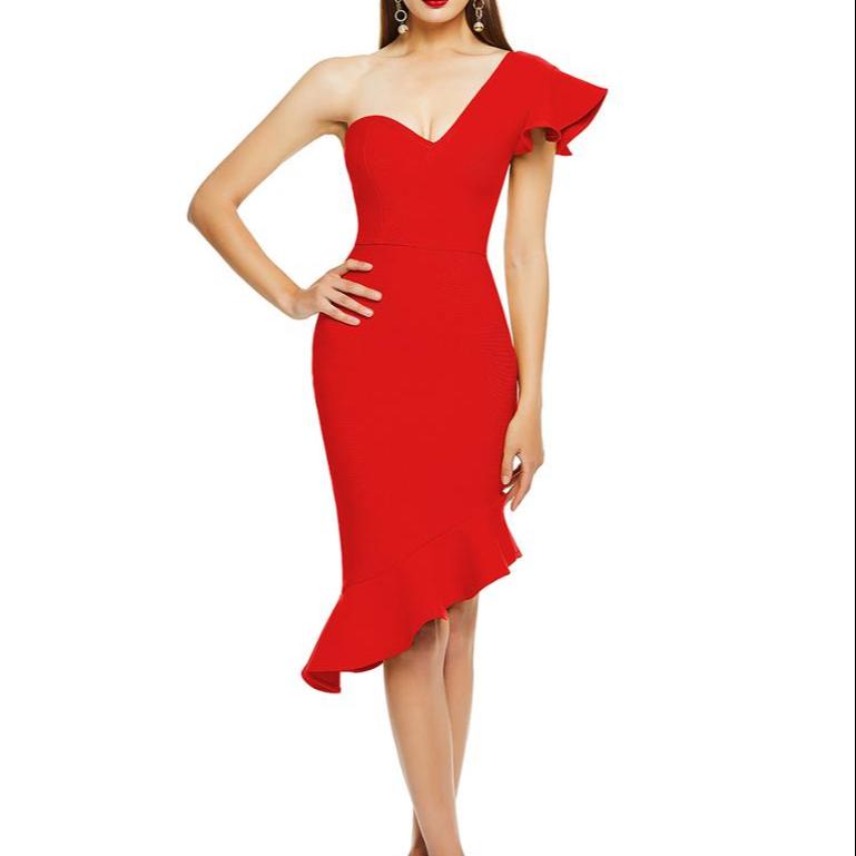 Alibaba.com / Women V-Neck Sexy Bodycon Party Dresses Long Sleeve Casual Midi Dress