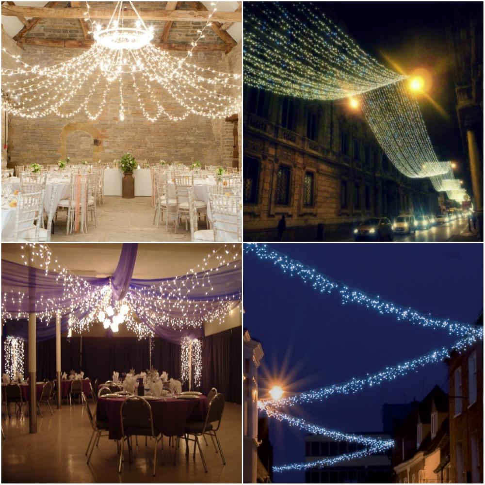 Modern Ceiling Net Fairy Lights For Weddings Reception Interior
