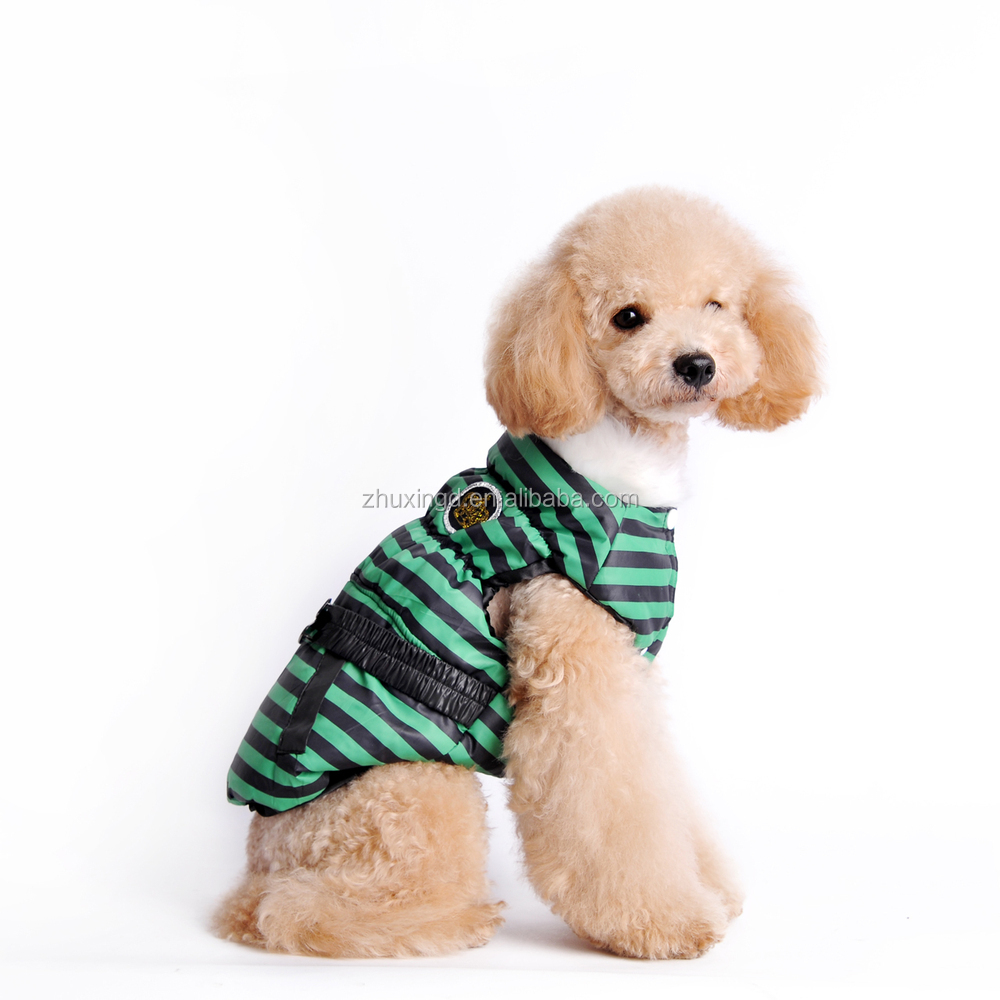 Fashion striped pet winter dresses with fur, wholesale dog dress, excess inventory for sale