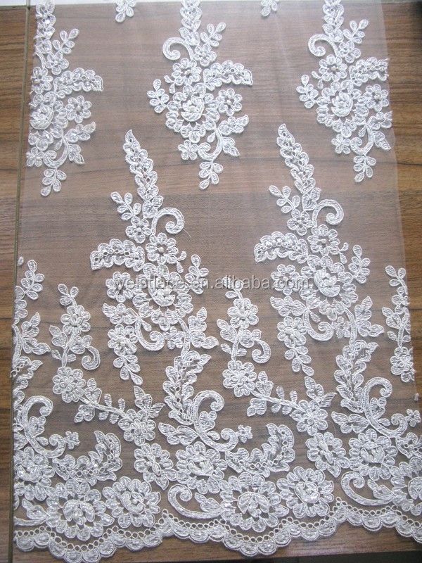 2015 High Quality Lace/Guipure Lace Fabric/Cheap Chantilly French White Bridal Embroidered Tulle Lace Fabric Wholesale