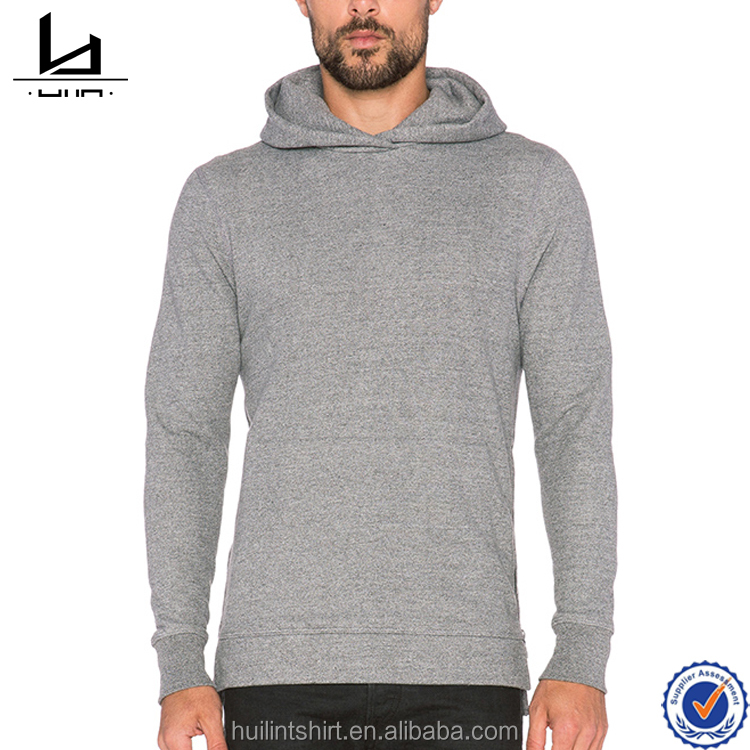 Custom hoodie for men high quality heather grey slim fit hoodie