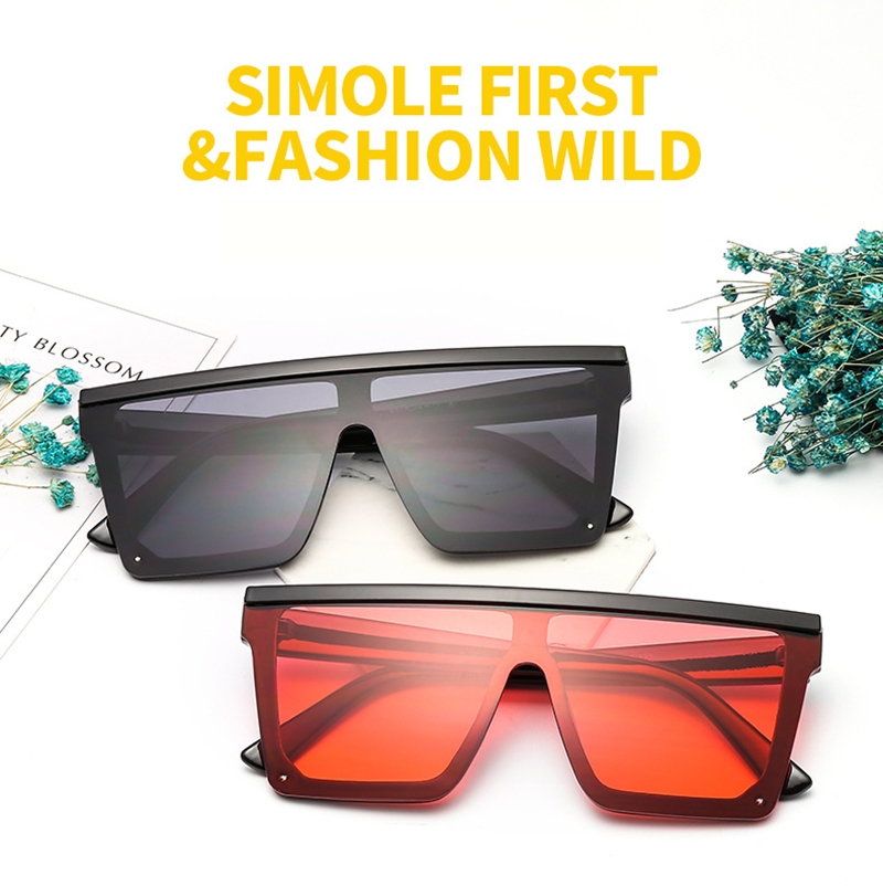 Flat Top Oversized Big Square Frame Custom Logo Retro Women Sunglasses