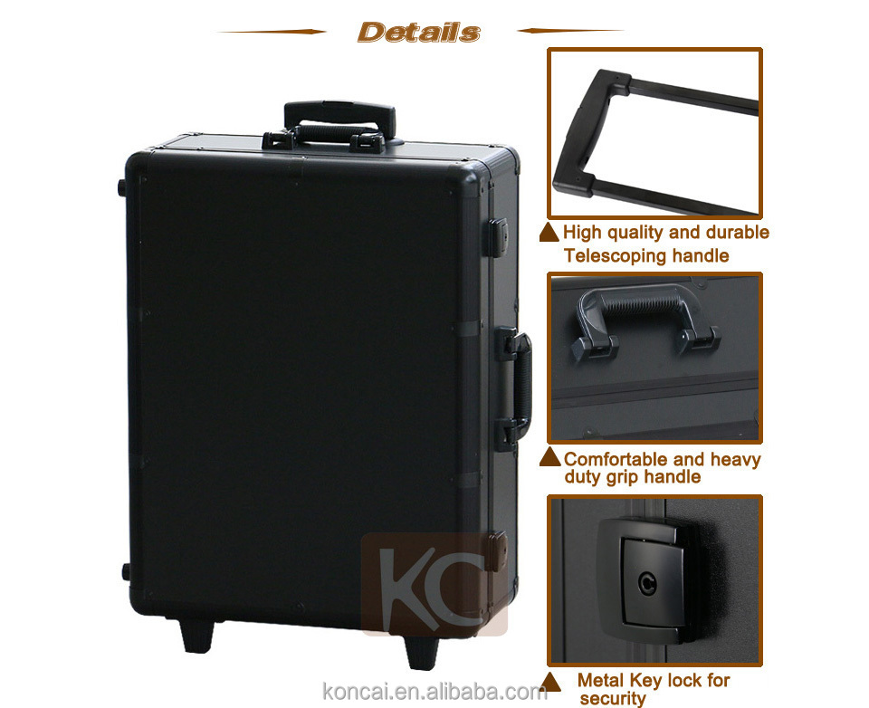 Professional Makeup Station With Lighted Mirror Portable LED Aluminium  Cosmetic Case
