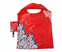 small portable eco nylon shopping bag reusable foldable grocery bags with pouch