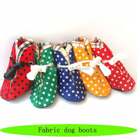 2016 new fabric dog boots, indoor pet cat boots, dot fancy dog boots