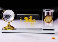 cheap crystal clock office supplier pen holder with earth