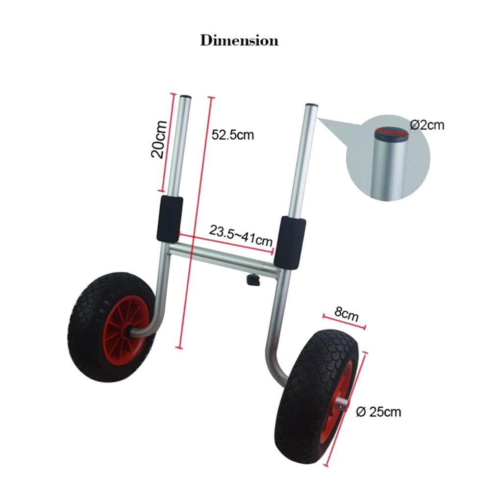 Baosity High Strength Durable Rubber Kayak Boat Trolley Wheel Trailer Transport Cart Spare Parts Replacement DIY Accessories