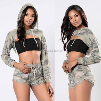 ea1928b396644 matching dress shirts pants Women Cropped Army Print Hoodie Top   Shorts  crop hoodies