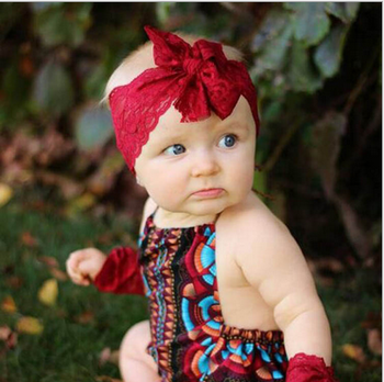 New Model Lace Cute Baby Girls Colorful Red Hair Band Elastic Baby Headband 76e0f45aea7