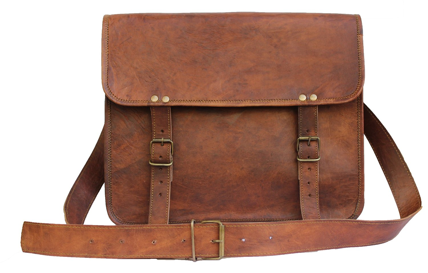 United Leather Bags 14'' Inches Classic Adult Unisex Cross Shoulder Leather Messenger Laptop Briefcase Bag Satchel Brown