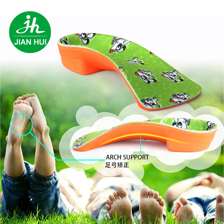 2017 Jianhui Custom Podiatrist Grade Orthotics Orthopedic Arch Support EVA Insole for Kids flat foot