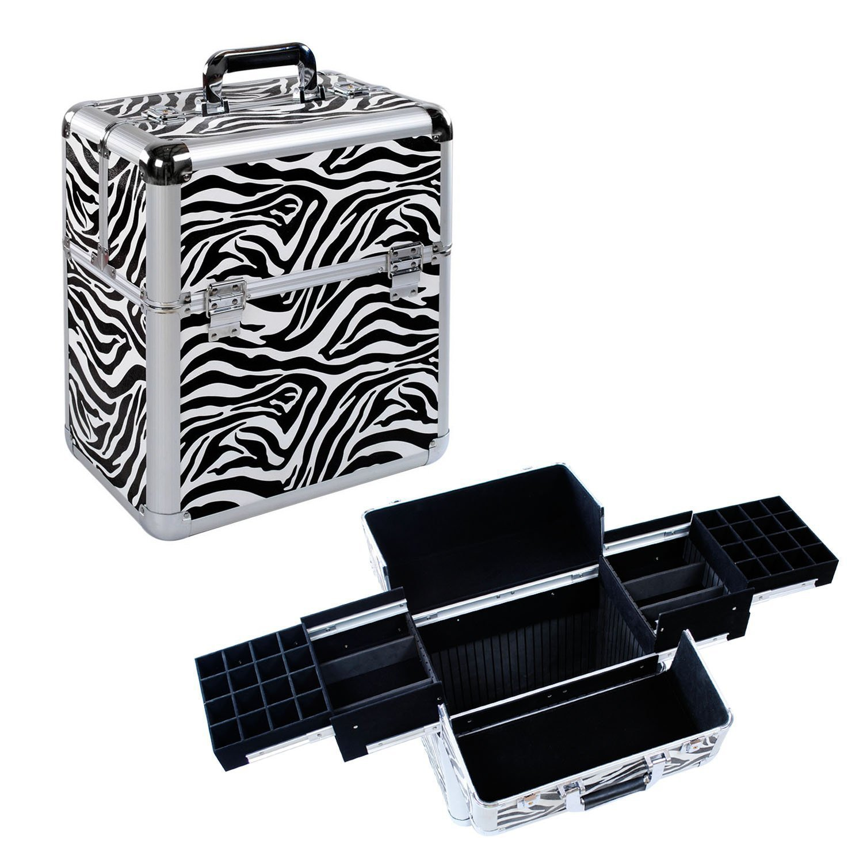 Multifunctional Zebra Aluminium Make Up Cosmetics Box/Case