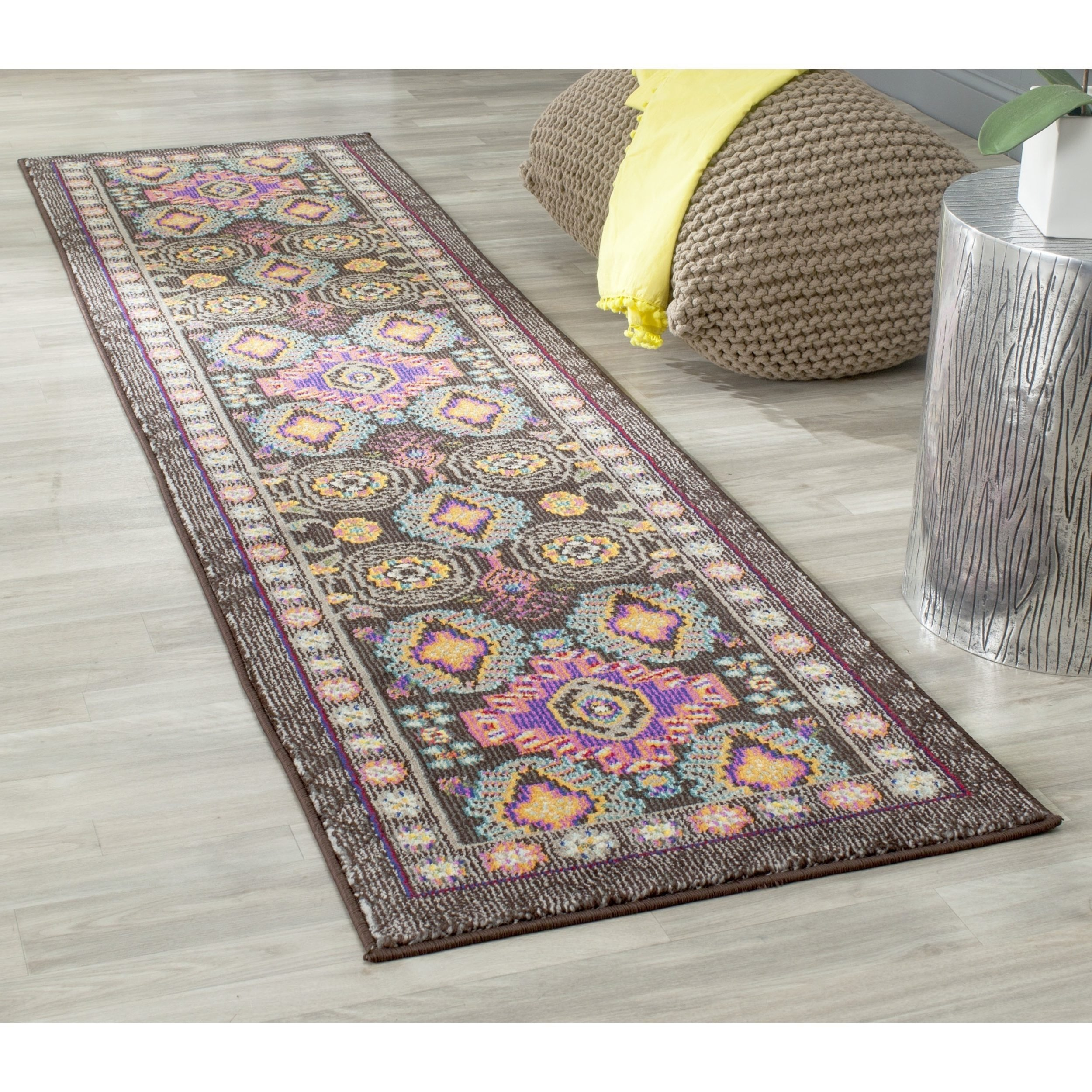 D&H 1 Piece 2'2 x 6ft Vibrant Colorful Bohemian Hallway Rug, Brown Pink Purple Teal Bordered Hippie Themed Long Carpet, Jeweled Colors Rainbow Themed Morrocan Multi Colored, Indoor Polyproplene