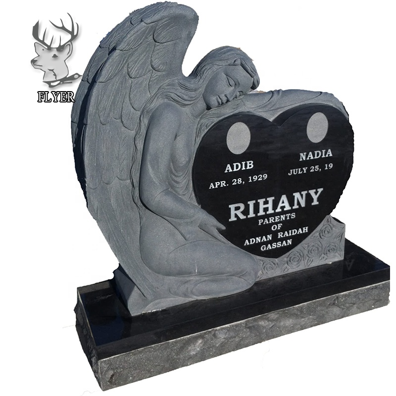 Grave markers black granite headstones heart shape with angel