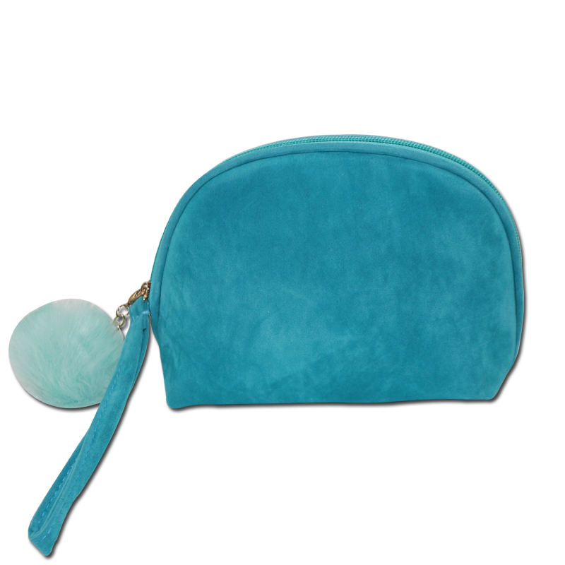 ARTGIMEN Woman Small Blue Velvet Luxury Cosmetic Bag Make Up Pouch Handbag Makeup Bag with Pompon