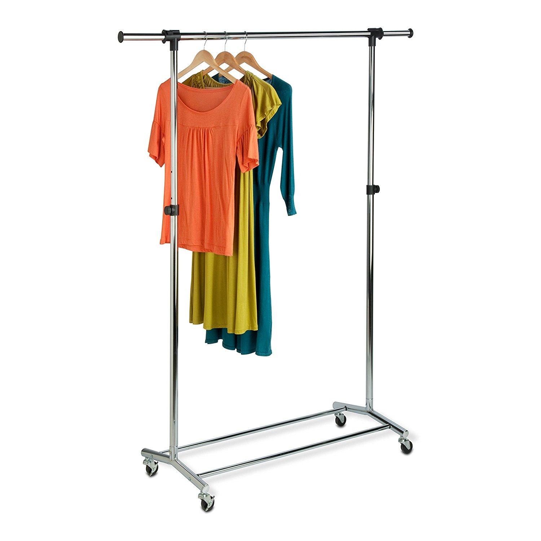 Honey-Can-Do GAR-01123 Garment Rack with Adjustable Bar and Steel Casters, Chrome