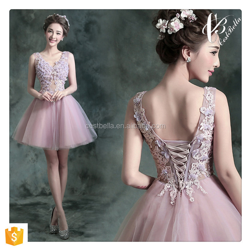 Latest Fashion Pink Knee-length Bridesmaid Dress Woman Smart Lovely Lady wedding dress 2016