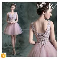 Latest Fashion Pink Knee-length Bridesmaid Dress Woman Smart Lovely Lady wedding dress 2016