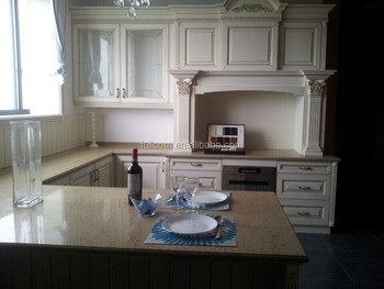 Golden White Paint Finish Solid Wood Kitchen Cabinet