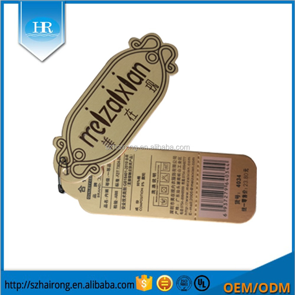 New design customized embossing printed color logo kraft paper hang tags for clothing