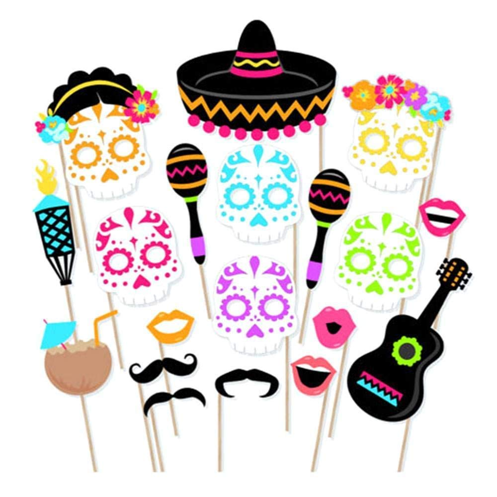 Leegoal 21pcs Mexican Theme Culture Sugar Skull Day Of the Dead Photo Booth Props Souvenirs Party Supplies Photobooth Decoration