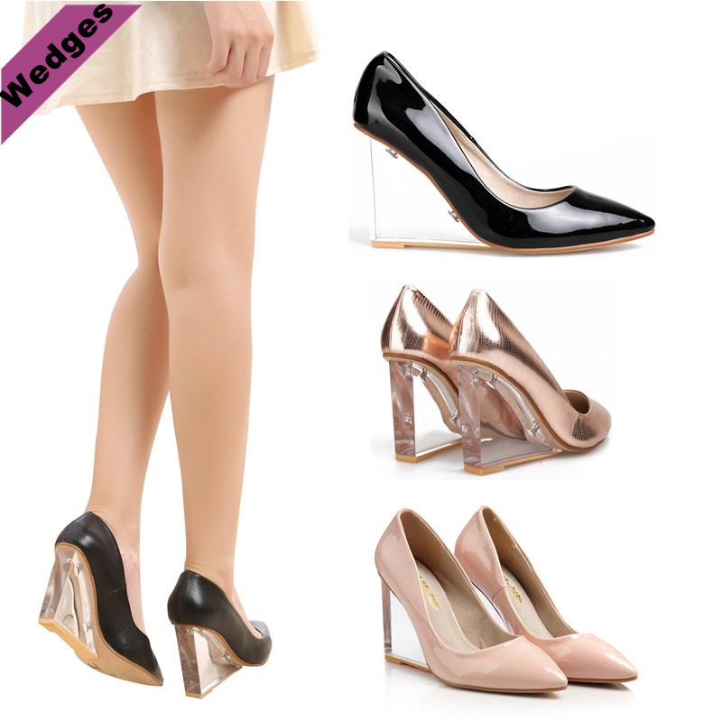 Transparent Crystal With Wedges High Heels Shoes Woman Pointed Toe Single Shoes  Champagne Color Wedding Shoes