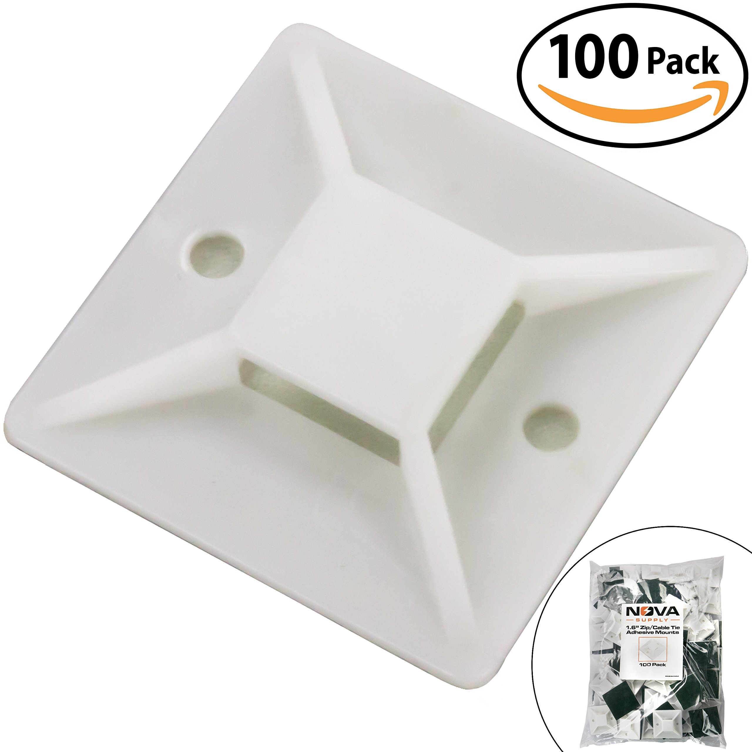Super-Adhesive X-Large Cable Tie Mounts 100 Pack For Fast, Frustration-Free Wire Management. Anchor These Zip Tie Bases Tools-Free With Sticky Backs Or Use Screw-Holes For Permanent Hold