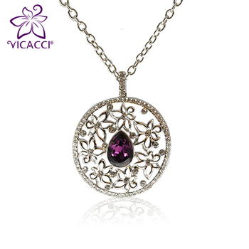 VICACCI Circular Shape Pendant Necklace with Swaroiski Crystal