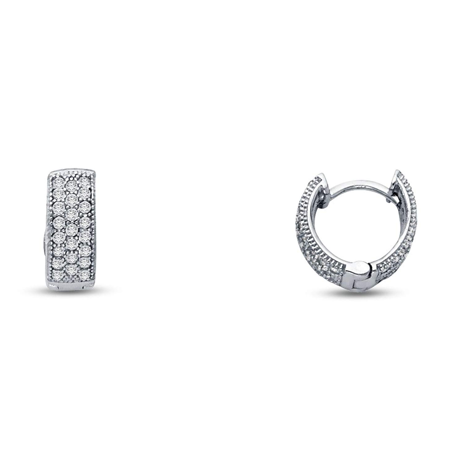 Get Quotations 14k White Gold Micro Pave Cz Cubic Zirconia Hinged Hoop Huggies Earrings 10 X