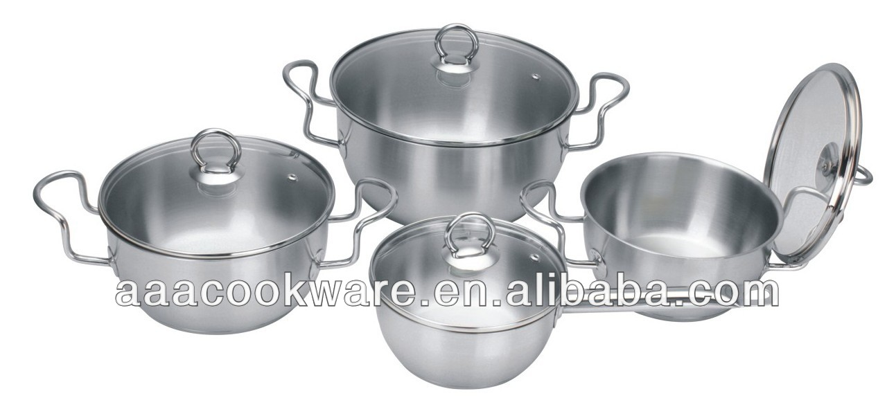 2015 New Products 8pcs High Quality Stainless Steel Cookware Set With Conical Apple Shape Straight Bottom For Wholesale
