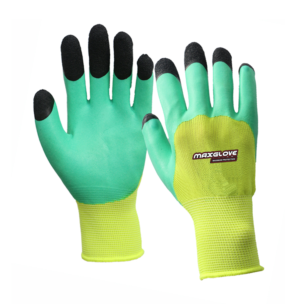 Top level rubber foam coating work latex gloves