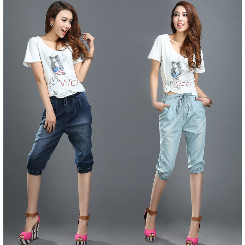 denim capris 2016 summer pants loose pants high waist fashion trousers 3 4 pants thermal. Black Bedroom Furniture Sets. Home Design Ideas