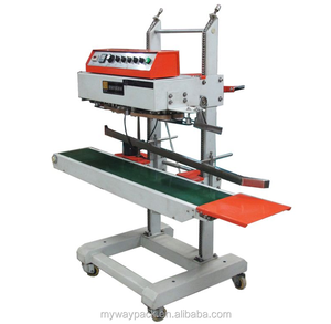 Easy operate heavy duty model stainless steel vertical continuous band sealer plastic bag sealing machine