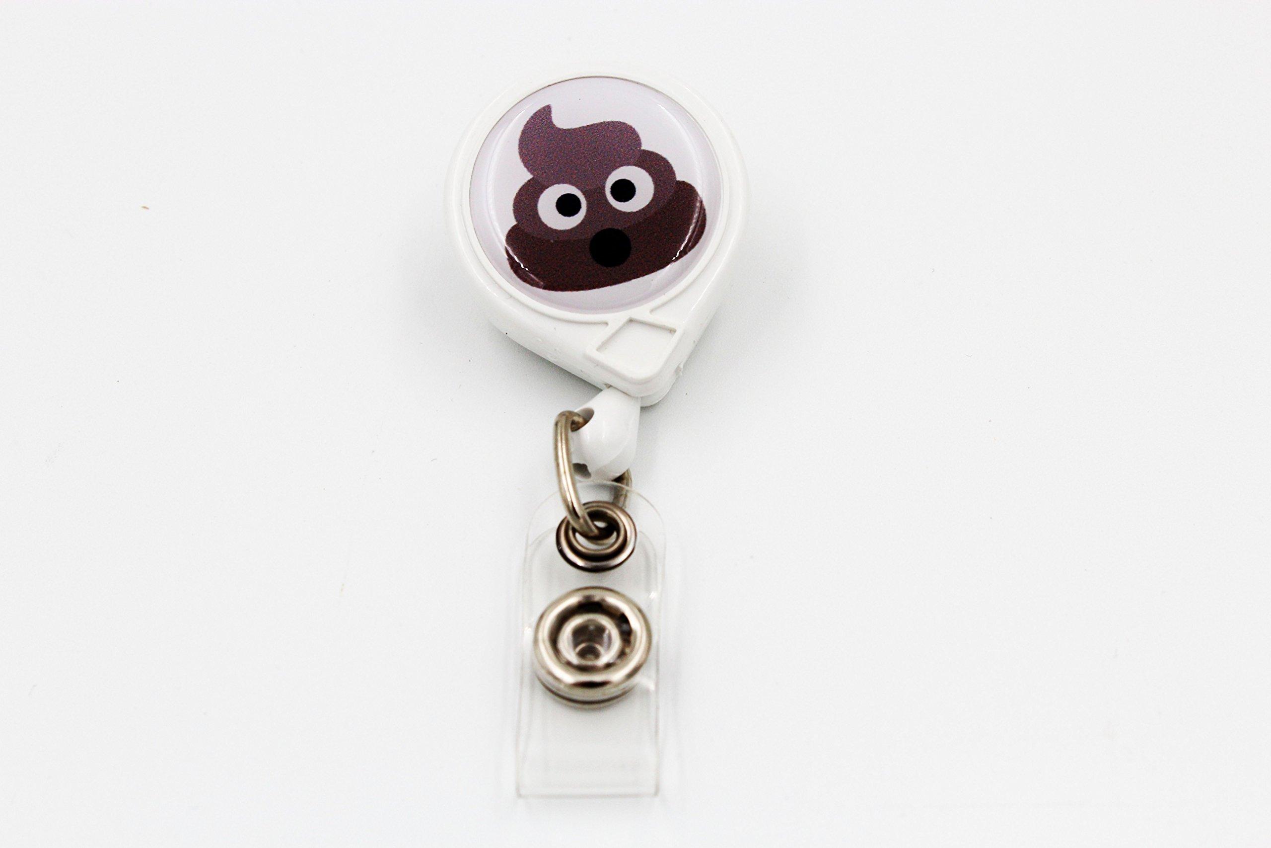 Key-Bak Mini-Bak Emoji Retractable Reel with 36-Inch Nylon Cord, Steel Belt Clip and Vinyl ID Strap (Emoji - Pile of Poo, White)