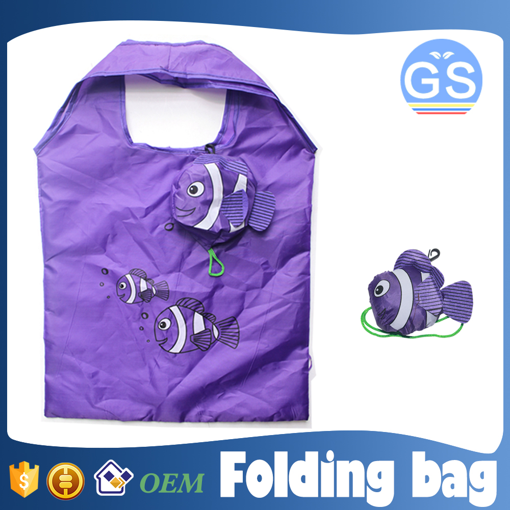OEM factory direct suppy tropical fish foldable shopping bag 190T polyester cheap