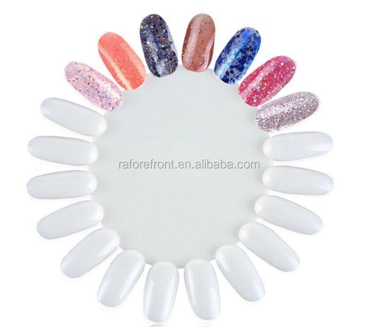 Natural Color Nail Polish Display Wheel Round 18 Tips Plastic Nail ...