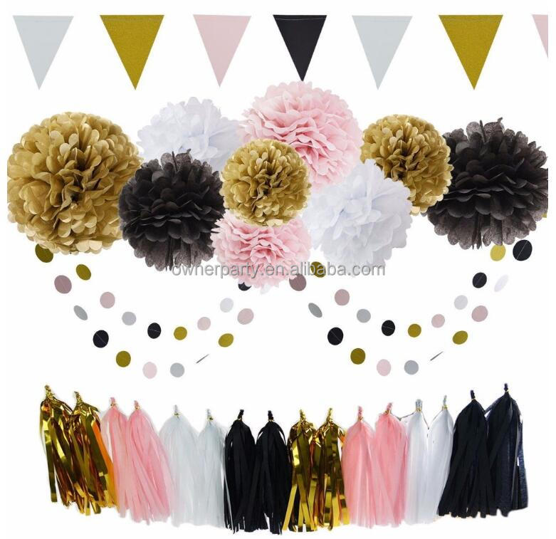 Custom Wall Hanging Indoor Pom Pom Ball Paper Fan Paper Banner Garland with Tissue Paper Flag Simple Party Banner