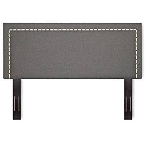 Pemberly Row Full Queen Upholstered Headboard in Jitterbug Ash