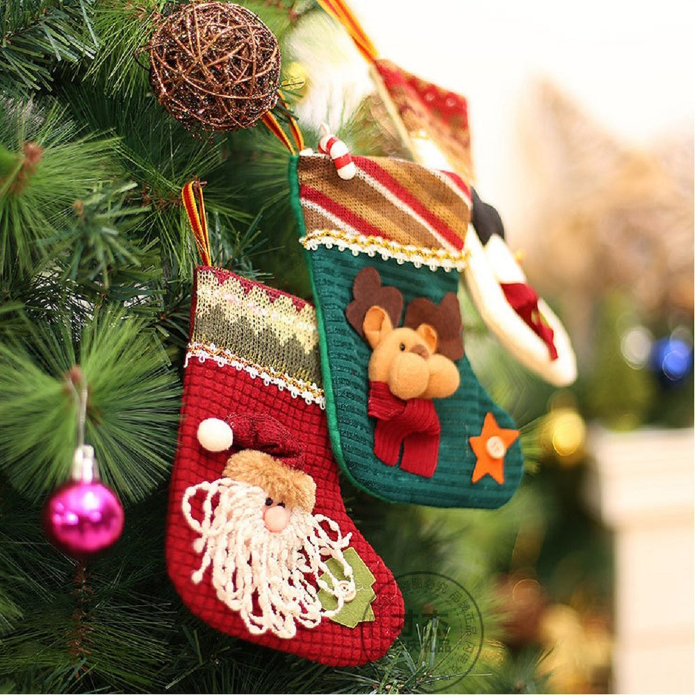 babys first christmas stockingym 3 pcs set knitted christmas stockings with felt applique - Where To Buy Christmas Stockings