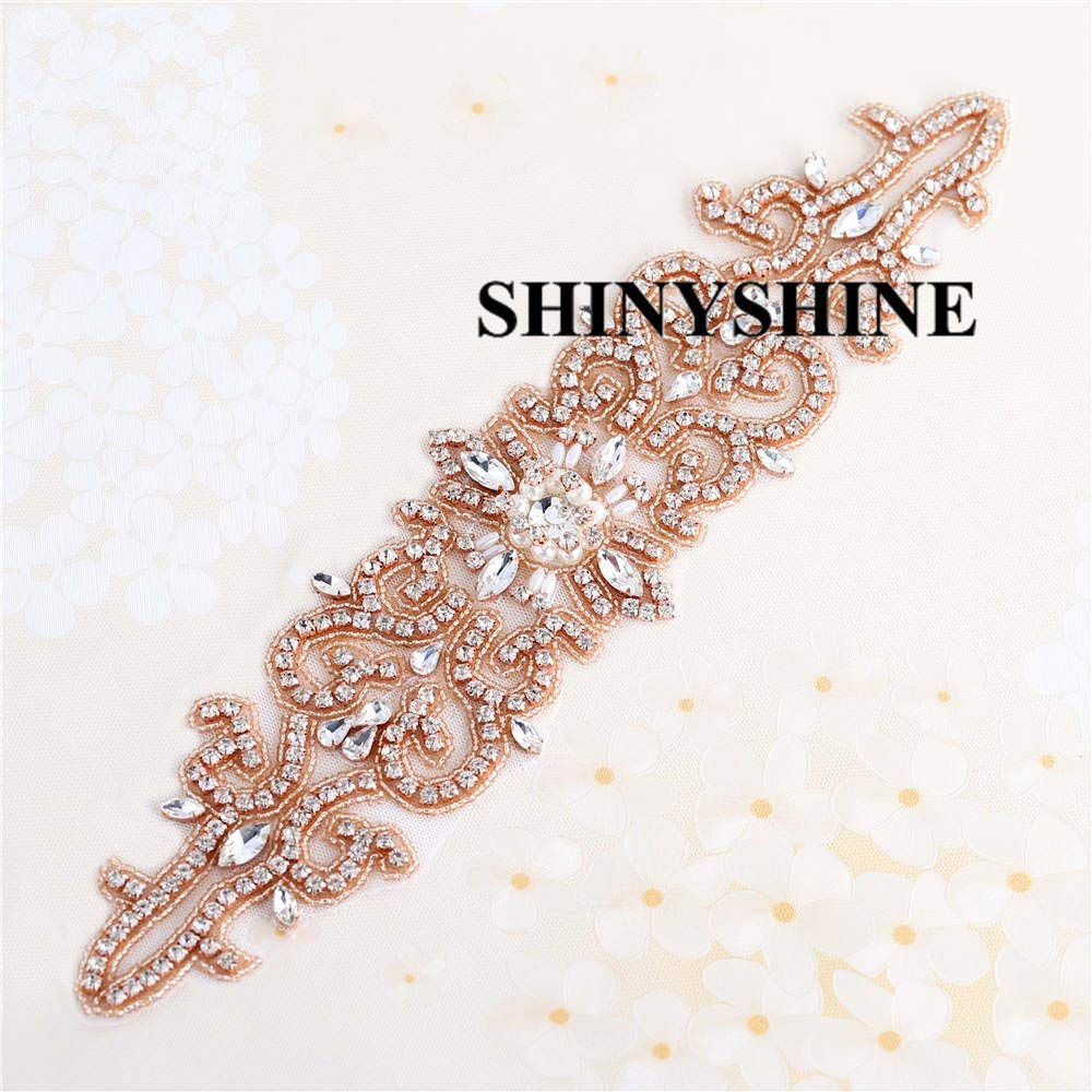 ShinyShine Crystal Sashes for Wedding, Wedding Bridal Belt, Braided Rhinestone Sash Wedding Applique RA031