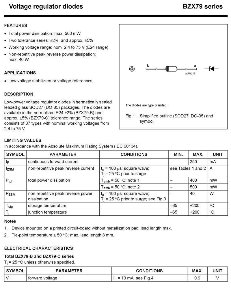 25 diodes Zener BZX79C68 68V 0,5W