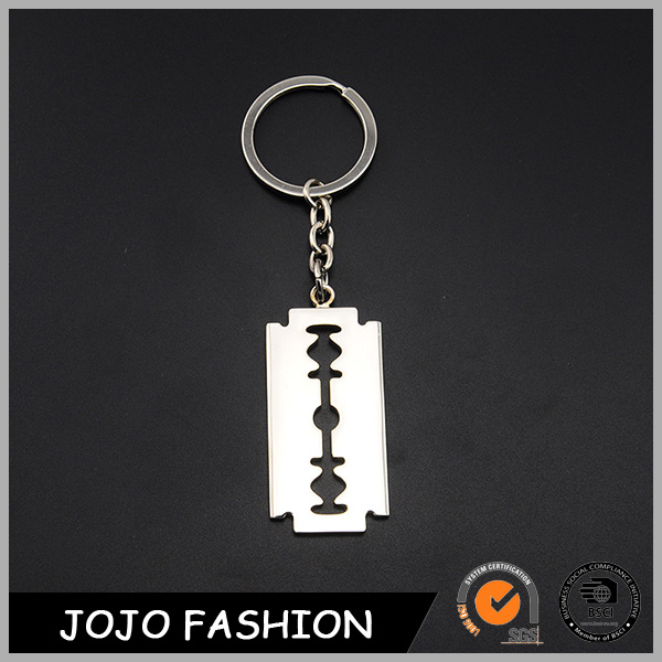 Cutter blade shape metal key chain silver color metal key chain