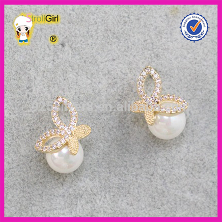 Butterfly with stone pave 925 sterling silver big pearl earring eleganc earring wholesale jewelry