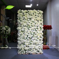 GNW new design flower wall supplier wedding decoration backdrop artificial flower wall white rose with green leafs hanging wall