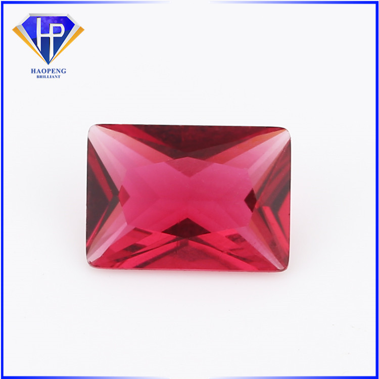 rectangle octagon cut 5# red ruby color glass cut gemstone