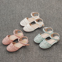 2018 Summer Girls Sandals Hollow with Pearl Princess Flat Shoes Sandals for Child and Baby Girl