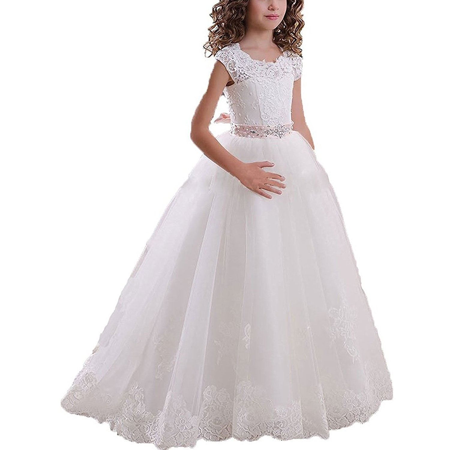 97fc74df24e Get Quotations · PANLIFE Vintage White Ivory Lace Flower Girl Dresses First  Communion Party Gown