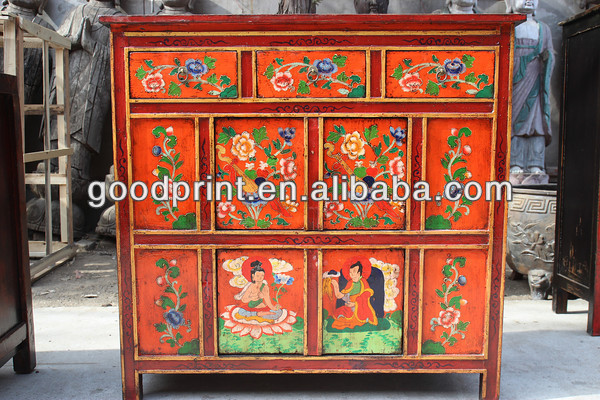 Tibetan Furniture In Antique Cabinet