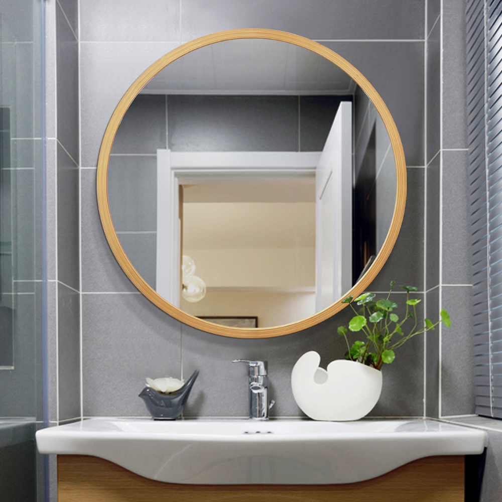 Simple Wooden Bathroom Mirror Round