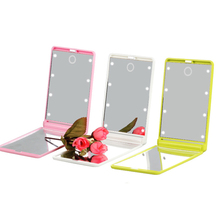 Women Foldable Makeup Mirrors Lady Cosmetic Hand Folding Portable Compact Pocket Mirror 8 LED Lights Lamps
